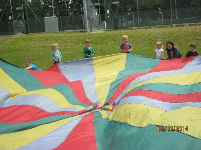 Parachute Games on the field at Noah's Ark